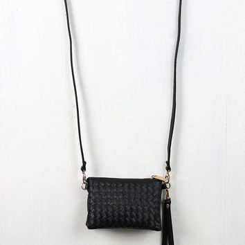 Woven Leatherette Compartments Bag