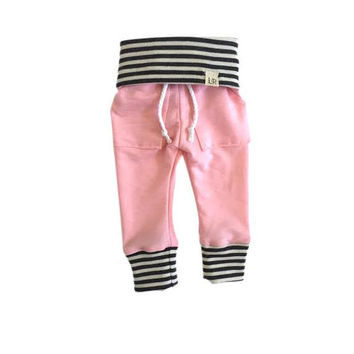 Soft pink sweatpants, mint stripe sweats, organic kid pants, take home outfit, green stripe sweatpants, baby jogging outfit, newborn