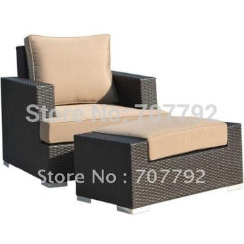 New Style 2-Piece Patio Woven Wicker Reclining Club Chair And Ottoman