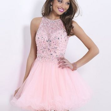 A-line/Princess Sleeveless High Neck Short/Mini Tulle Ruffles Dresses - Homecoming Dresses 2015 - Homecoming Dresses
