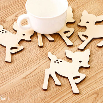 4 pieces Set. Little Beige Deer Wooden Coasters Set. Cute Forest Animals Coasters. MADE-TO-ORDER. Housewarming Gift