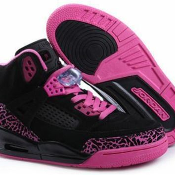 Hot Nike Air Jordan 3.5 Spizike Suede Women Shoes Black Pink