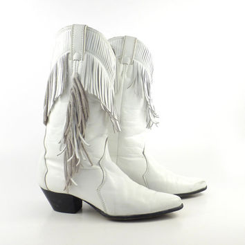 White Cowboy Boots Vintage 1980s Leather Fringe White Women's size 7 1/2