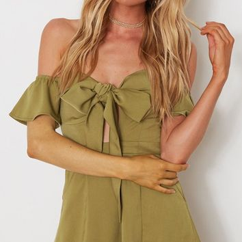Bowing Down Short Sleeve Off The Shoulder Cut Out Waist Bow Romper Playsuit - 3 Colors Available