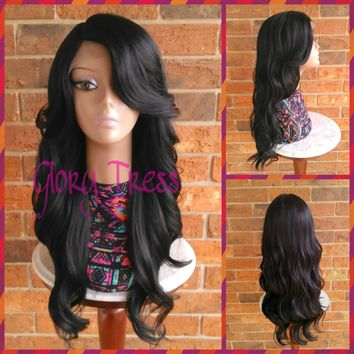 ON SALE // Long Curly/Wavy Lace Front Wig, Black Bombshell Wig //GRACIOUS (Free Shipping)