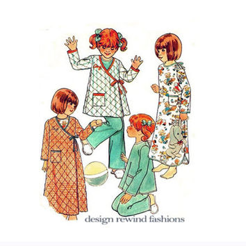 TODDLER NIGHTGOWN PAJAMAS Robe Pattern Hospital Style Gown Pajamas Butterick 5128 UNCuT 1970s Girl Boy Robe Sewing Patterns Size 2 Breast 21