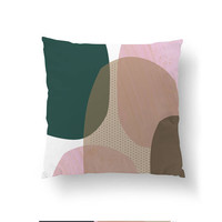 Pink Green Pillow, Abstract Shape, Cushion Cover, Textured Watercolor, Decorative Pillow, Simple Decor, Pastel Art, Throw Pillow, Home Decor