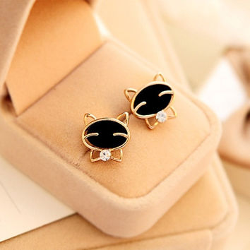Pretty Black Smiley Cat Quality Exquisite Rhinestone Stud Earrings For Women Jewelry (Color: Black) = 1695530500