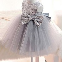 [59.99] Attractive Sequin Lace Jewel Neckline Ball Gown Flower Girl Dresses With Bowknot - dressilyme.com