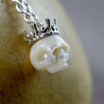 READY TO SHIP - Large Carved Pearl Skull Wearing Sterling Silver Crown - Skull Jewelry - Pearl Necklace - Skull Pendant - Unique Gift