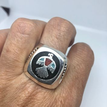 Vintage 1980's Native American Style Southwestern Real Turquoise Stone inlay Men's Thunderbird Ring