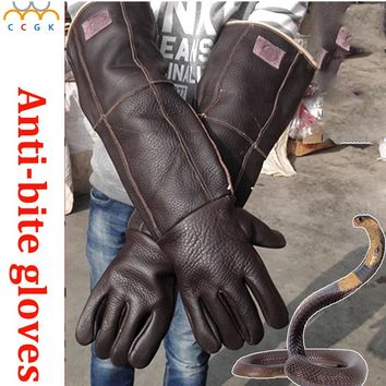 60cm long Anti-bite Leather gloves Tactical Animal Training Dog Cat Snake Bite Anti-scratch Protective Training Feeding Gloves
