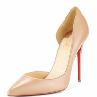 Christian Louboutin Iriza Half-d'Orsay 100mm Red Sole Pump, Nude
