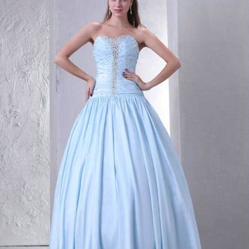 Real Photos Light Blue Strapless Pleats Prom Dresses Beaded Floor-Length A-Line Long Party Gowns