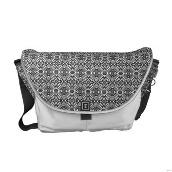 Black and White Aztec Pattern Messenger Bag