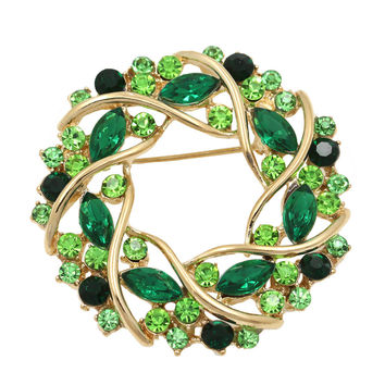 Factory Direct Sale Women Crystal Rhinestone Garland Brooch In 5 Colors