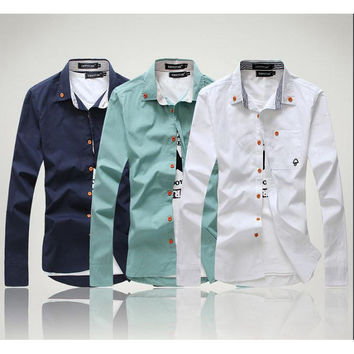 Casual Logo Long Sleeve Button Down