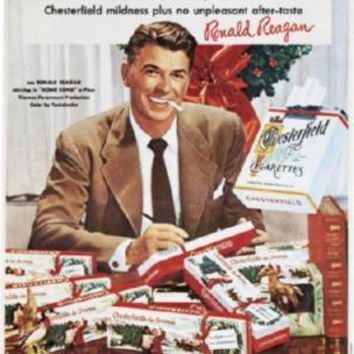 Reagan Ronald Chesterfield Cigarettes Ad Metal Print 8in x 12in