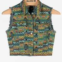 Women's Southwestern Print Denim Vest in Orange/Green/Yellow by Daytri