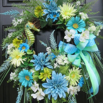 Seahorse Wreath, Tropical Wreath, Beach Wreath, Summer Door Wreath, Spring Summer Wreath, Summer Wreath Front Door, Spring Wreath Front Door