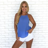 Summer Basic Tank Top In Periwinkle Blue