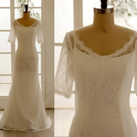 Vintage Lace Wedding Dress Elbow Sleeves Dress