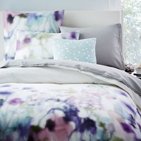 Organic Wildflower Duvet Cover + Shams - Stone White