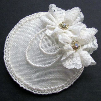 Lace Flower Fascinator - Wedding Cocktail Hat, Bridal Hairpiece, Mother of the Bride, Ivory