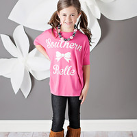 Girls Southern Belle Top Bright Fuchsia