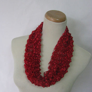 Cranberry Scarf, Knit Cowl, Hand Knit Scarf, Gift For Her, Circle Scarf, Red Scarf, Loop Scarf, CIJ