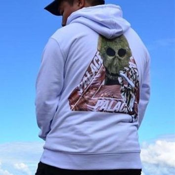 Palace autumn and winter skull triangle printing plus velvet hood hooded sweater White