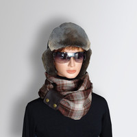Infinity Brown Scarf  Men Women Unisex very Soft WOOL Scarf Cozy Cowl with Natural Leather Cuff by Elena Joliefleur