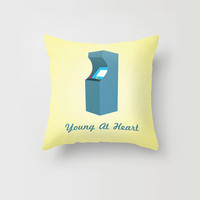 Throw Pillow Decorative Pillow Case Arcade Game Geeky Nerdy Gamer Yellow Old School Made to Order 16x16 18x18 20x20 Retro Young at Heart