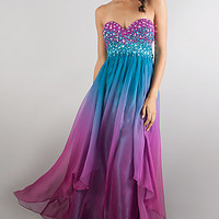 Colorful Strapless Gown by Dave and Johnny