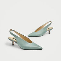 SLINGBACK LEATHER HIGH HEEL SHOES DETAILS