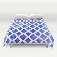 Watercolor Diamonds in Cobalt Blue Duvet Cover by Micklyn