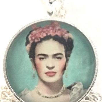 Mod Provisions Frida Kahlo Red Flowers Glass Round Cabochon Pendant Necklace