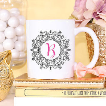 Framed Monogram Initial Mug- Coffee Cappuccino Tea Mug - Maid of Honor Bridesmaid Gift