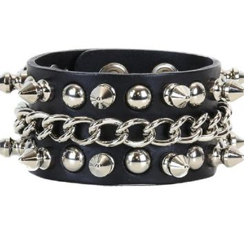 Silver Spikes & Chain Black Leather Wristband Bracelet Cuff