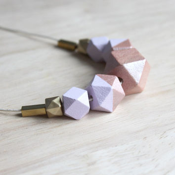 wooden geometric necklace pastel // lilac copper dipped necklace for girls, women - modern minimalist everyday jewelry