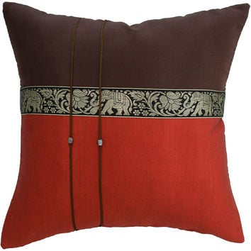 "Avarada Brown & Burnt Orange Elephants Throw Decorative Silk Pillow Covers 16""x16"""