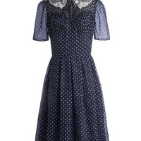 ModCloth Vintage Inspired Long Short Sleeves A-line Cross Your Teas Dress