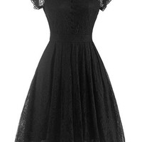 Black Cap Sleeve Lace A Line Dress - USD $27.12