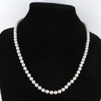 6.5mm Vintage Cultured Pearl Matinee Strand Necklace 14 Karat Gold Estate Jewelry