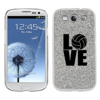 Silver Samsung Galaxy S3 SIII i9300 Glitter Bling Hard Case Cover KG607 Love Volleyball