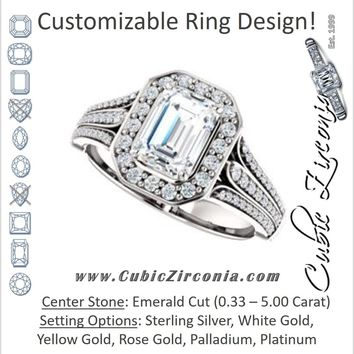 Cubic Zirconia Engagement Ring- The Frannie (Customizable Emerald Cut Style with Halo and Tri-Split Pavé Band)