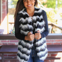 Tried and True Fur Vest - Black and Ivory