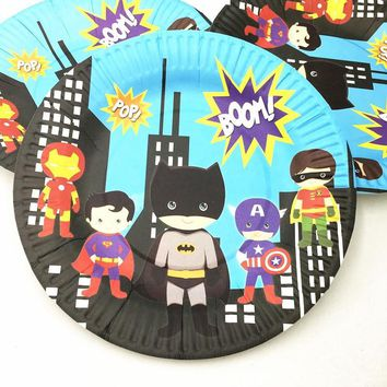 Batman Dark Knight gift Christmas 10pcs/lot batman superman dishes plates baby shower cartoon batman party supplies kids birthday party decoration batman  plates AT_71_6