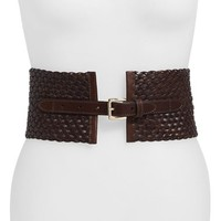 Women's MICHAEL Michael Kors Braided Leather Panel Belt,