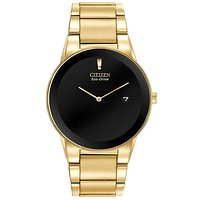 Citizen Eco-Drive Axiom Mens Dress Watch - Black Dial - Gold-Tone Ion Plating